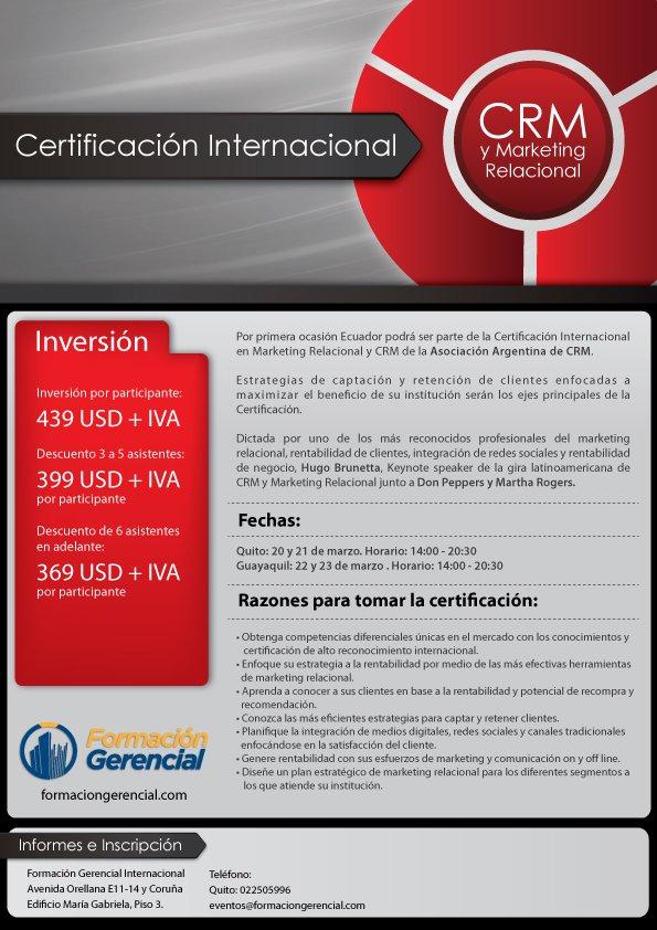 Certificación CRM y Marketing Relacional