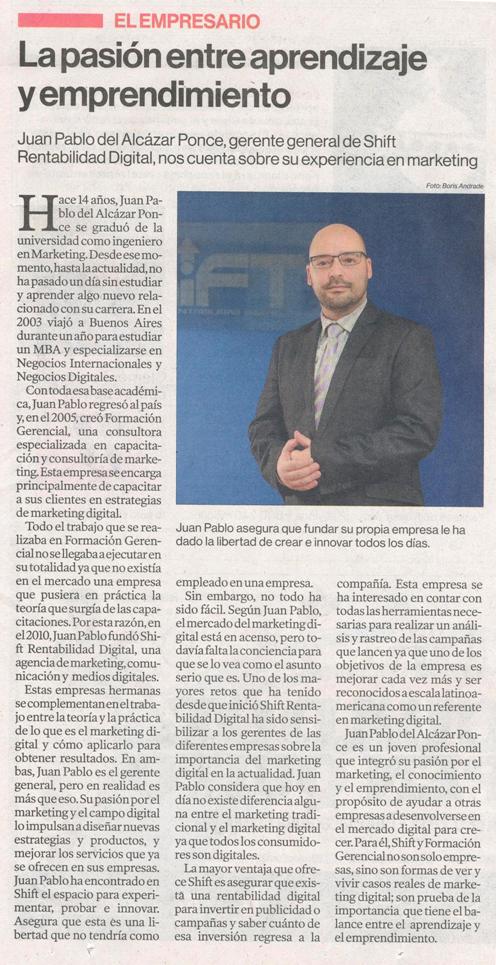Entrevista Juan Pablo Del Alcazar Ponce Diario El Comercio