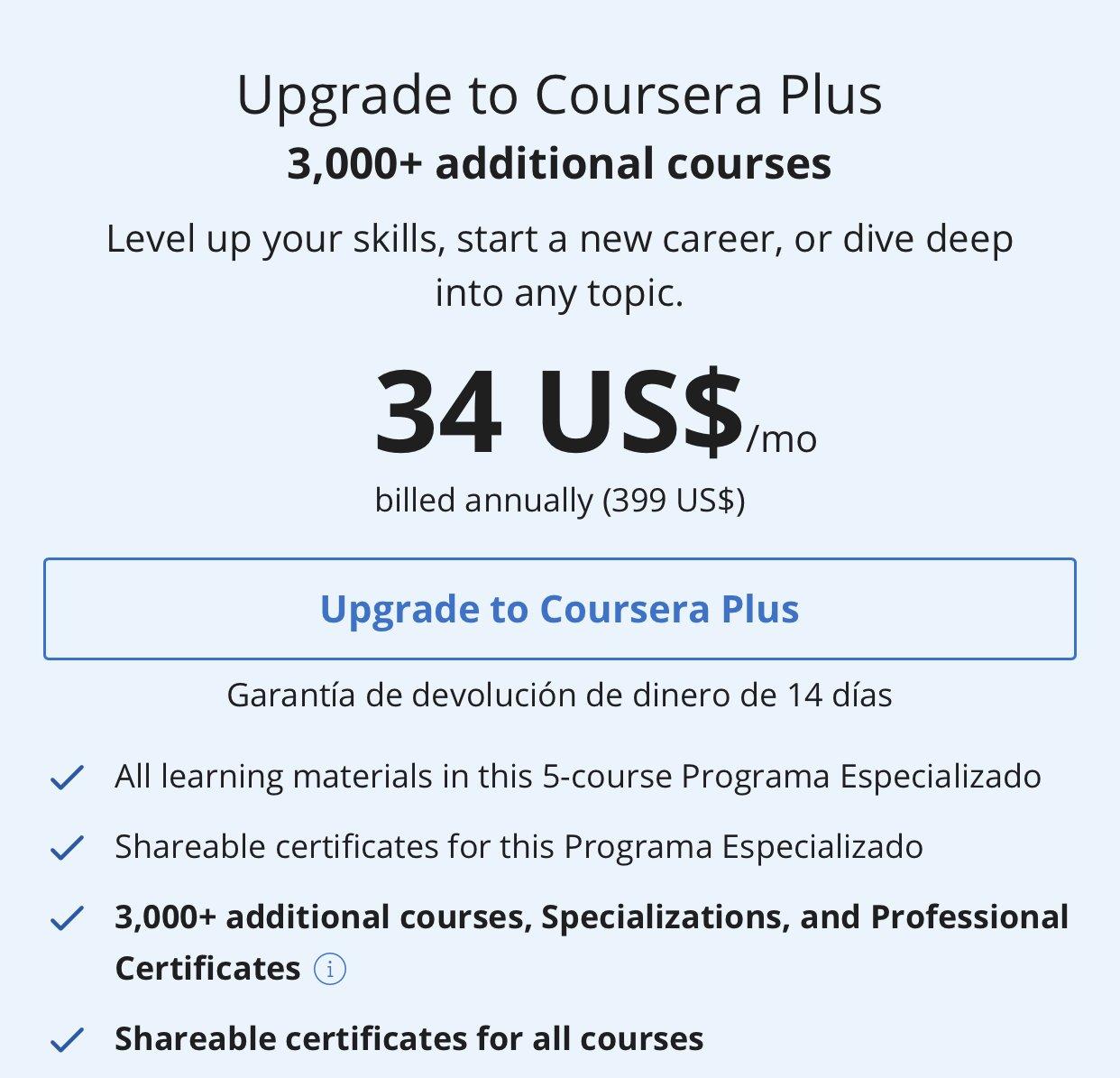 Coursera Afiliación Mensual