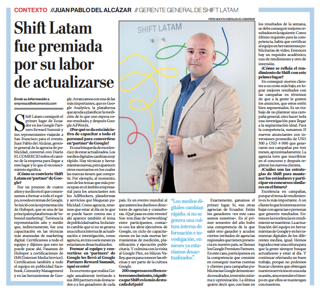 Shift Latam premiada Google Partners Rewards Entrevista El Comercio Juan Pablo Del Alcázar