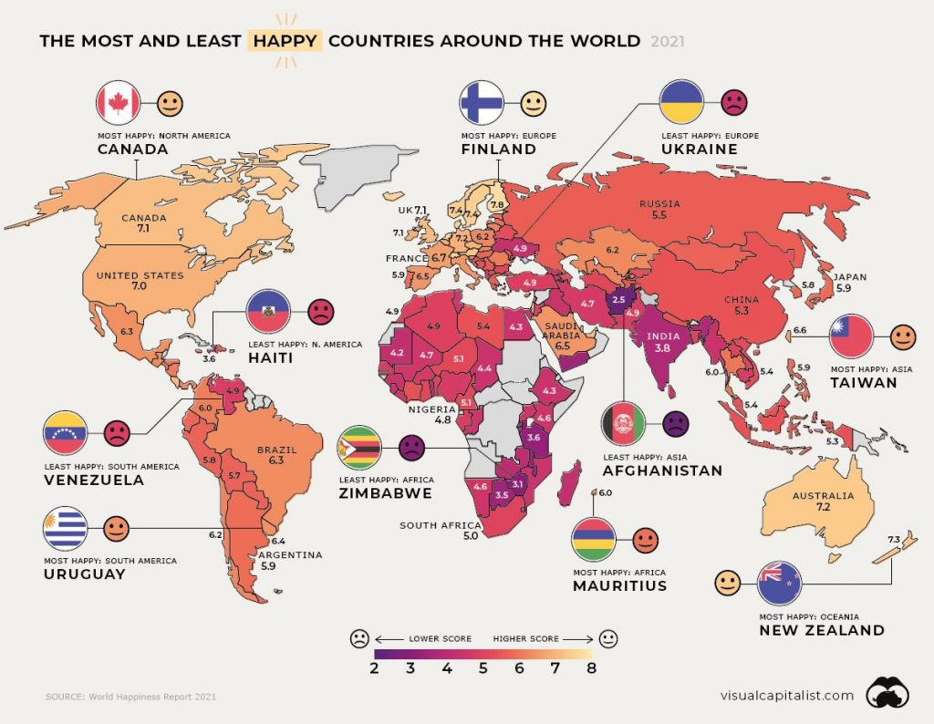 Mapa global de felicidad