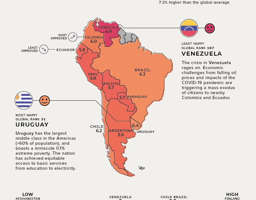 Mapa global de felicidad en 2021